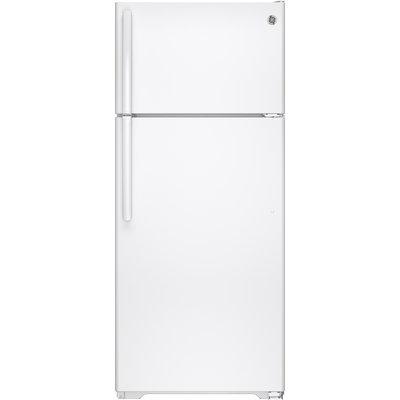 GE GTS18GTHWW 17.5 cu. ft. Top Freezer Refrigerator with 3 Shelves, 2 Adjustable Humidity Crispers, Gallon Door Storage, Spill Proof Freezer Floor and Adjustable Freezer Shelf: White