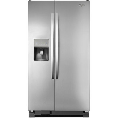 Whirlpool WRS331FDDM 21.2 cu. ft. Side-by-Side Refrigerator with 3 Spill-Proof Glass Shelves, 4 Door Bins, Deli Drawer, 2 Produce Drawer, 3 Wire Freezer Shelves and External Water/Ice Dispenser: Stainless Steel