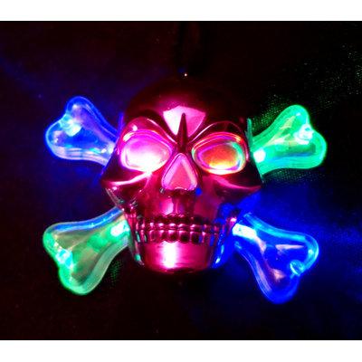 WeGlow International 21SK4PK Light Up Pink Chrome Skull Necklace - Set Of 3