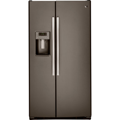 GE GSS23HMHES 22.5 cu. ft. Side-by-Side Refrigerator with 4 Glass Shelves, 2 Adjustable Humidity Crispers, Arctica Icemaker, Adjustable Gallon Door Bins, and ADA Compliant: Slate