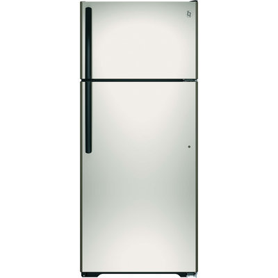 GE GIE18GCHSA 17.5 cu. ft. Top-Freezer Refrigerator with Adjustable SpillProof Glass Shelves, Factory-Installed Icemaker, Humidity Controlled Drawers and Gallon Door Storage: Silver