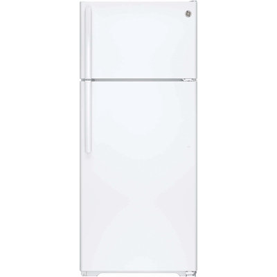 GE GIE18GTHWW 17.5 cu. ft. Top-Freezer Refrigerator with Adjustable SpillProof Glass Shelves, Factory-Installed Icemaker, Humidity Controlled Drawers and Gallon Door Storage: White