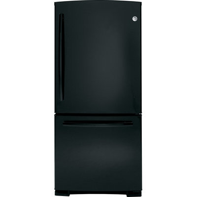 GE GDE20GGHBB 20.3 Cu. Ft. Black Bottom Freezer Refrigerator - Energy Star
