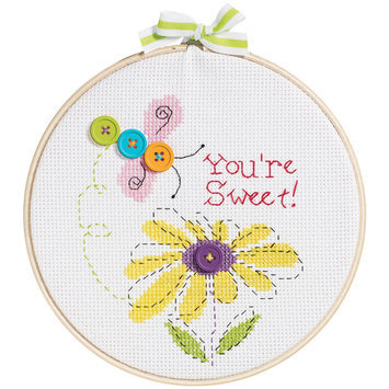 Bucilla My 1st Stitch You're Sweet Mini Counted Cross Stitch Kit-6in Round 14 Count