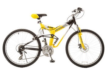 Taiwan New Idea Service Enter. Titan #135 Glacier PRO Alloy Dual Suspension All Terrain Mountain Bike with Disc Brake, 21-speeds, 19-Inch Frame, Yellow and Black