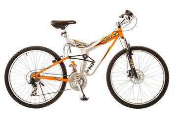 Taiwan New Idea Service Enter. Titan #137 Fusion PRO Alloy Dual Suspension All Terrain Mountain Bike with Disc Brake, 21-speeds, 19-Inch Frame, Orange and Silver