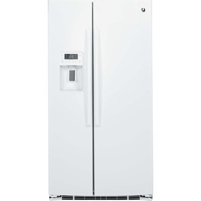 GE Profile PSE25KGHWW 25.4 cu. ft. Side by Side Refrigerator with 4 Glass Shelves, Gallon Door Storage, Ice and Water Dispenser, Interior LED Lighting and Energy Star Qualified: White