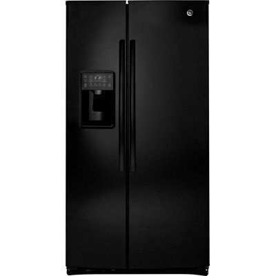 GE Profile PSE25KGHBB 25.4 cu. ft. Side by Side Refrigerator with 4 Glass Shelves, Gallon Door Storage, Ice and Water Dispenser, Interior LED Lighting and Energy Star Qualified: Black