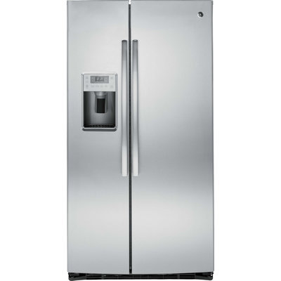 GE Profile PSE25KSHSS 25.4 cu. ft. Side by Side Refrigerator with 4 Glass Shelves, Gallon Door Storage, Ice and Water Dispenser, Interior LED Lighting and Energy Star Qualified: Stainless Steel