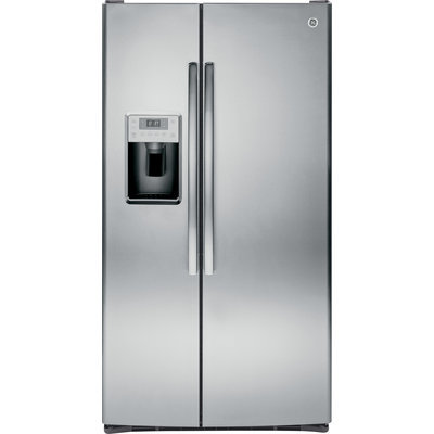 GE Profile PSS28KSHSS 28.4 cu. ft. Side by Side Refrigerator with 4 Glass Shelves, Gallon Door Storage, Ice and Water Dispenser, Spill Proof Shelves and Energy Star Qualified