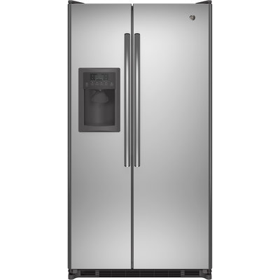 GE GSE25ESHSS 24.7 cu. ft. Side-by-Side Refrigerator with 3 Glass Shelves, Adjustable-Humidity Crisper, Adjustable Gallon Door Bins, Ice and Water Dispenser and ADA Compliant: Stainless Steel