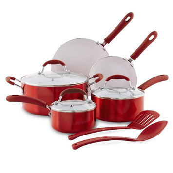10-Piece Nonstick Ceramic Cookware Set, Red