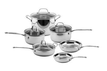 Berghoff International EarthChef Premium Copper Clad 10pc Cookware Set w/ Glass Lids