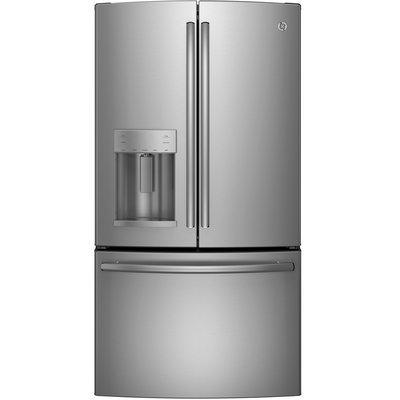 GE GYE22KSHSS 22.1 cu. ft. Bottom Freezer Refrigerator with 5 Glass Shelves, TwinChill Evaporators, Showcase LED Lighting, Turbo Cool Setting and Energy Star Qualified: Stainless Steel