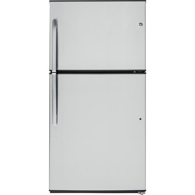 GE GTE21GSHSS 21.2 cu. ft. Capacity Top Freezer Refrigerator with 3 Glass Shelves, 2 Adjustable Humidity Crispers, Upfront Temperature Controls, ADA Compliant and Energy Star Qualified: Stainless Steel