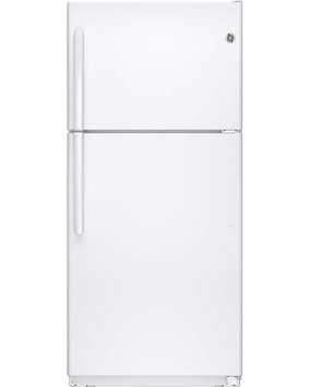 GE GIE18ETHWW 18.2 cu. ft. Top-Freezer Refrigerator with Adjustable Glass and Wire Shelves, Dual Temperature Controls and Factory-Installed Icemaker: White