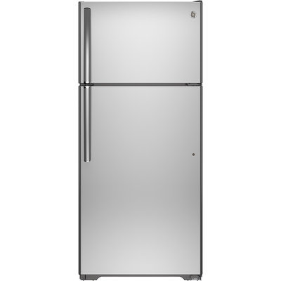 GE GIE18HSHSS 17.6 cu. ft. Top-Freezer Refrigerator with 3 Glass Shelves, Adjustable Gallon Door Storage, Factory-Installed Icemaker, Quick Space Shelf and Energy Star Qualified: Stainless Steel