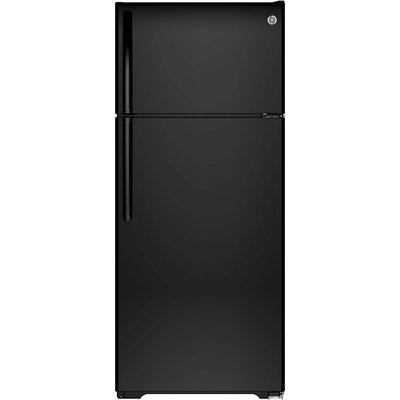GE GIE18HGHBB 17.6 cu. ft. Top-Freezer Refrigerator with 3 Glass Shelves, Adjustable Gallon Door Storage, Factory-Installed Icemaker, Quick Space Shelf and Energy Star Qualified: Black