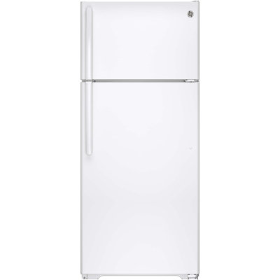 GE GIE18HGHWW 17.6 cu. ft. Top-Freezer Refrigerator with 3 Glass Shelves, Adjustable Gallon Door Storage, Factory-Installed Icemaker, Quick Space Shelf and Energy Star Qualified: White