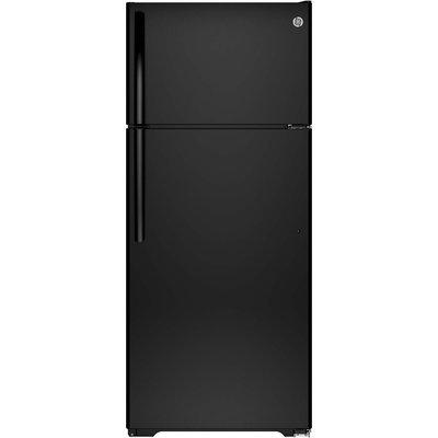 GE GTE18CTHBB 17.5 cu. ft. Top Freezer Refrigerator with 3 Shelves, Gallon Door Storage, Icemaker-Ready, Spill Proof Freezer Floor and Adjustable Freezer Shelf: Black