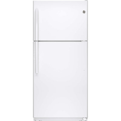 GE GTE18ETHWW 18.2 cu. ft. Top-Freezer Refrigerator with 4 Shelves, Upfront Temperature Controls, Automatic Defrost, ADA Compliant and Energy Star Qualified: White