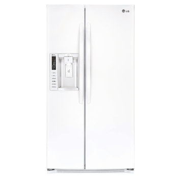 LG LSXS26326W 26.2 cu. ft. Side-by-Side Refrigerator with 4 SpillProtector Tempered Glass Shelves, 4 Door Bins, Digital Temperature Controls and External Ice/Water Dispenser: White
