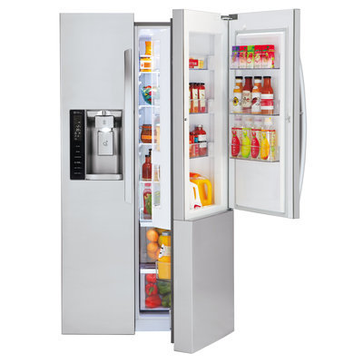Lg - 26.0 Cu. Ft. Side-by-side Smart Refrigerator With Thru-the-door Ice And Water - Stainless-steel