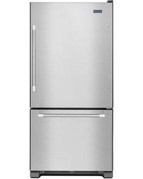 Maytag Refrigerator. 30 in. W 18.7 cu. ft. Bottom Freezer Refrigerator in Monochromatic Stainless Steel MBF1958DEM