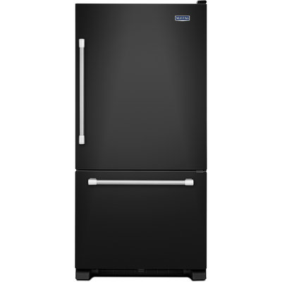 Maytag Refrigerator. 30 in. W 18.7 cu. ft. Bottom Freezer Refrigerator in Black with Stainless Steel Handles MBF1958DEE