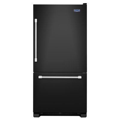 Maytag Refrigerator. 33 in. W 22.1 cu. ft. Bottom Freezer Refrigerator in Black with Stainless Steel Handles MBF2258DEE