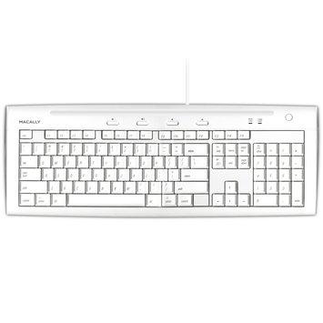 Macally iKeySlim Keyboard - 104 Keys - Ice White - USB