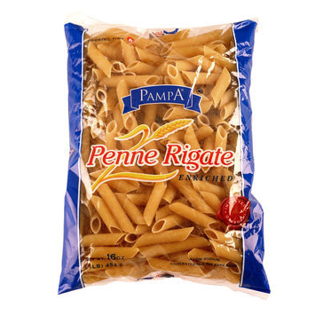 Pampa Imported Enriched Penne Rigate Noodles 16 Ounce Bag - TRANSNATIONAL FOODS, INC.