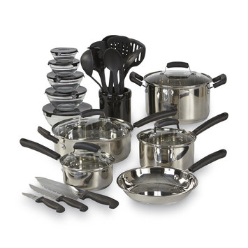 Essential Home 25pc Mega Stainless Steel Cookware Set Silver