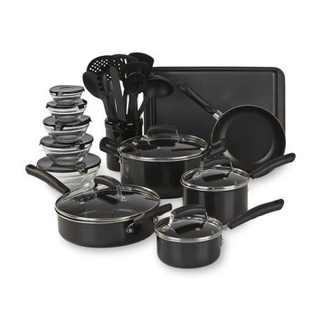 Essential Home 25pc Mega Aluminum Cookware Set Black