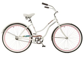 Taiwan New Idea Service Enter. Titan Docksider Single Speed Womens Beach Cruiser Bicycle, White with Pink Wheels, 26-Inch Wheels, 17-Inch Frame
