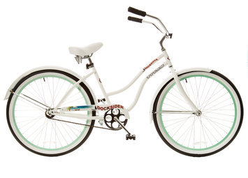 Taiwan New Idea Service Enter. Titan Docksider Single Speed Womens Beach Cruiser Bicycle, White with Mint Green Wheels, 26-Inch Wheels, 17-Inch Frame