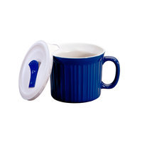 World Kitchen CorningWare French White 20 Ounce Pop-Ins Soup Mug - Blue