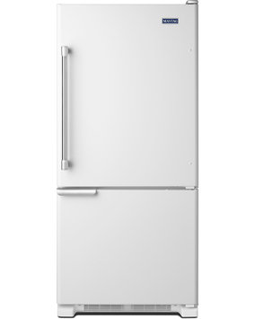 Maytag Refrigerator. 30 in. W 18.7 cu. ft. Bottom Freezer Refrigerator in White with Stainless Steel Handles MBF1953DEH