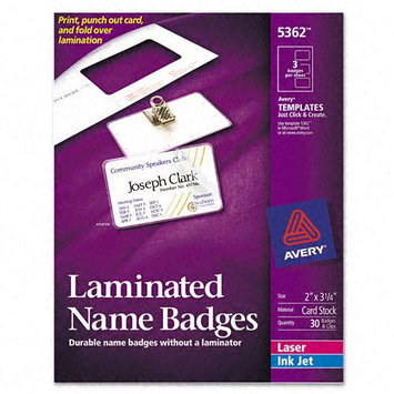 Avery Self-Laminating Laser/Ink Jet Printer Badges
