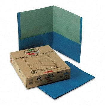 Oxford Recycled Paper Twin-Pocket Portfolio, Blue