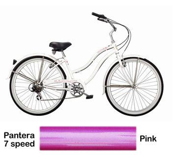 Micargi Pink Pantera 7 Speed Beach Cruiser Female
