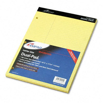 Ampad Evidence Pad, Law Rule, Canary, 100 Sheets
