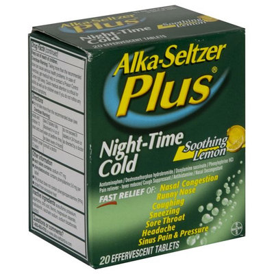 Alka-seltzer Plus Night Time Cold, Soothing Lemon, Effervescent Tablets, 20 tablets - BAYER CORPORATION/CONSUMER CARE DIV.