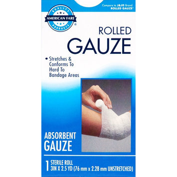 American Fare Latex Free Rolled Gauze Absorbent Gauze Sterile Roll 3 Inches X 2.5 Yards Box - American Fare