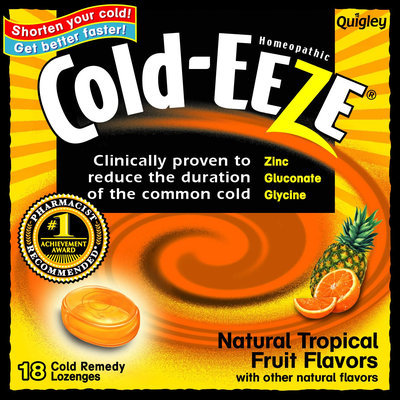 Cold-Eeze Homeopathic Cold Remedy Natural Tropical Fruit Flavor Lozenges 18 Count - THE QUIGLEY CORPORATION