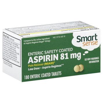 Smart Sense Aspirin, 81 mg, Enteric Coated Tablets, 180 tablets - KMART CORPORATION