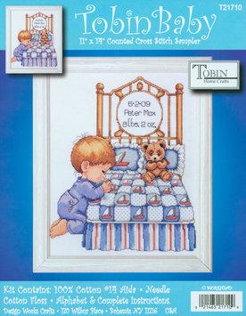 Tobin Bedtime Prayer Boy Birth Record Counted Cross Stitch Kit