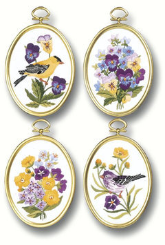 Janlynn Wildflowers & Finches Embroidery Kit-3-1/4 X4-1/4 Stitched In Floss
