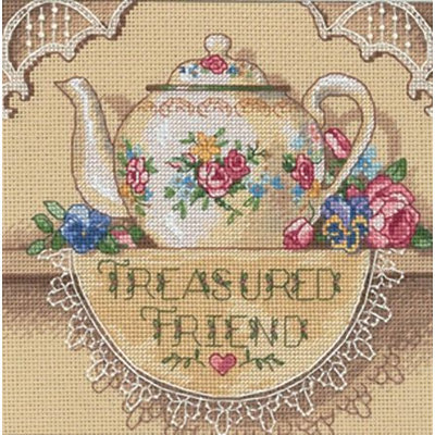 Dimensions Gold Collection Petite Treasured Friend Teapot Cross Stitch Kit