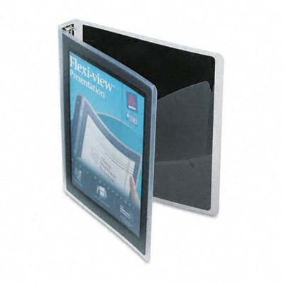 Avery Dennison Flexi-View Round-Ring Presentation View Binder, 1in Capacity Color: Black
